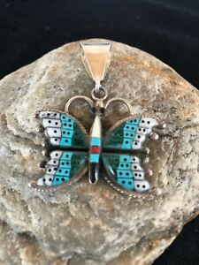 Navajo Indian Sterling Silver Butterfly Turquoise Coral Inlay Pendant 1140