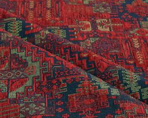 Kilim ethnic fabric upholstery tapestry southwestern boho decor red by yard m