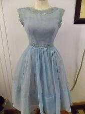 1950s Era Blue Party Dress Tulle Layered & Full Skirt & Crochet Lace Trim