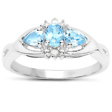9ct White Gold Blue Topaz & Diamond Engagement Ring, Ring Size H,I,J,K,L,M,N,O