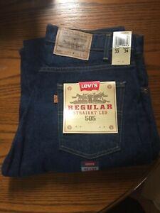 NWT VTG Levis Strauss 505 Orange Tab Regular Fit Straight Leg Jeans Size 33 x 34