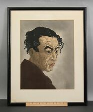 Antique Koshiro Onchi Portrait of Poet Hagiwara Sakutaro Japanese Woodblock