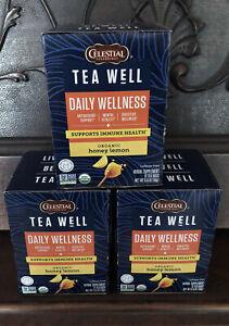 Lot X 3 Boxes Celestial Seasonings Daily Wellness Tea for Immune Health Turmeric