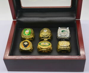 Set 6Pcs Green Bay Packers Championship Ring With Display Box Fans Gift