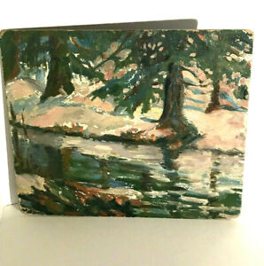 J H TWACHTMAN AMERICAN IMPRESSIONIST PAINTING SIGNED ON REVERSE OIL BOARD