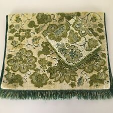 Vtg Cannon Royal Family MCM Sculpted Fringe Green & Yellow Hand Towel Wash Cloth