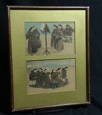 TWO Framed Emmanuel Poire French Artist Postcards Moonks Hand Colored