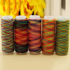 5pcs/set Rainbow Color Polyester Spool Quilting Sewing Thread For Hand Machine