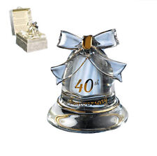 40th Bell  Anniversary Gift - Crystal Bell   Rubby Wedding Gift