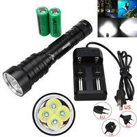 15000LM 4x XM-L T6 LED Diving Scuba Flashlight Torch 18650/26650 Underwater 100m