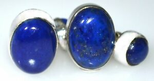 Lapis Lazuli Cufflinks Double side Sterling SILVER Real Gems 925 Chain Cuff link