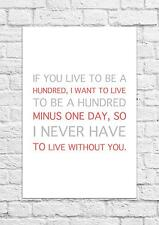 I Never Have To Live Without You - Winnie The Pooh Quote - Poster/Art Print A4