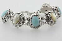 Suarti Bali BA Sterling Silver Mother of Pearl Turquoise Station Toggle Bracelet