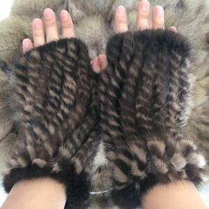 Real Mink Fur Women Winter Knitted Fingerless Gloves Wrist Warm Mittens -Brown