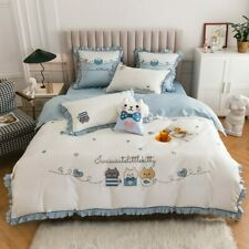 Cute Cartoon Kitty Embroidery 100S Egyptian Cotton Bedding Set Double Ruffles