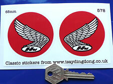 HONDA Motorcycle classic set of 2 handed RED 65mm stickers racing bike car  578