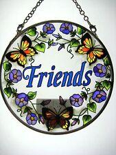 """AMIA STAINED GLASS SUNCATCHER 4.5"""" ROUND FRIENDS #8121"""