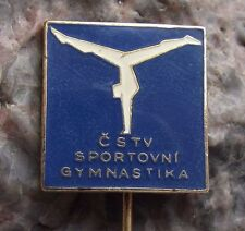 Antique Sports Gymnastics Hand Stand Back Walkover Split Exercise Pin Badge