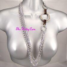 Designer Long Multi-Strand Silver Chains Catwalk Necklace w/ Swarovski Crystals