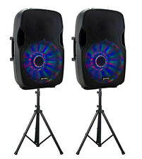 2 x GEMINI AS-15BLU-LT 4000 W Altoparlante attivo PA Bundle DJ BLUETOOTH E SUPPORTI
