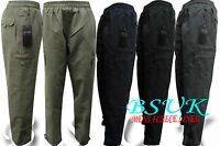 MENS FLEECE LINED ELASTICATED THERMAL COMBAT CARGO WINTER TROUSERS PANT S - XXXL