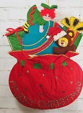 VINTAGE Mid Century Modern MCM Felt/Sequins Christmas Wall Hanging Santa's Bag