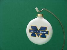 3  INCH  MICHIGAN  WOLVERINES ROUND  CERAMIC HANGING  ORNAMENT...MADE IN USA