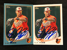 L. J. Hoes Hand Signed Topps 2013 Rookie Card Lot Blue Parallel RC BAL Orioles