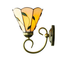 Tiffany Style Loft Wall Sconce 1-Light Leaf Stained Glass Wall Light for Bedside