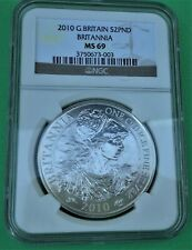 2010 GREAT BRITAIN BRITANNIA NGC MS 69 1 OZ..958 FINE SILVER