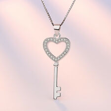 Real 925 Silver Women Cystal Heart Key Pendant Necklace Classic Fashion Jewelry