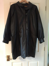 Ladies black leather coat Italian by Franco Pugi size 14 with quilted lining