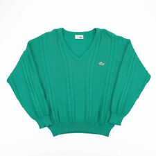 Vintage CHEMISE LACOSTE Green V-Neck Cable Knit Jumper Men's Size Small (4)