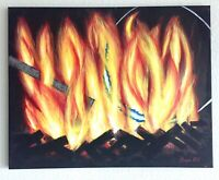 Fire Painting Original  Mayra MTV Colorful Metal Modern Abstract Acrylic 16x20