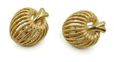 Vintage signed MONET Clip Earrings gold tone Apple