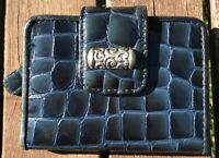 Brighton Women's Dark Blue Croc Embossed Tri-Fold Wallet