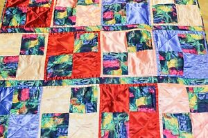 """Handmade Lap Throw Blanket Quilted Satin Blue Peach Watercolor Abstract 64""""*44"""""""
