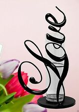 """12"""" Tall Black Metal Glass Flower Vase Love Collection Hand-Painted Decor"""