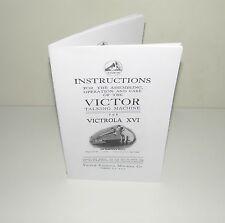 Victor Victrola XVI or 16 Gramophone Phonograph  Instruction Manual Reproduction