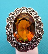 925 Sterling Silver Ring With Gorgeous Golden Topaz  Size M, US 6.25 (rg2607)