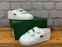 LACOSTE UK 4 EU 20 MARCEL ALL WHITE  TRAINERS TODDLER BOYS GIRLS CHILDRENS  LG