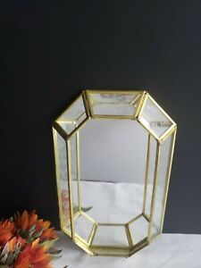 Brass and Etched Glass Wall Mirror/Tray by Crowning Touch - Vintage
