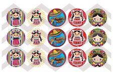 15-1in. Precut Bottle Cap Images CINCO DE MAYO Mexican Dolls Marias