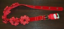 "Large Dog Collar Christmas 1"" Nylon with Red Velour & Bows  Neck 18"" to 26"""