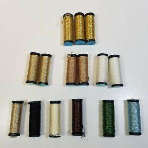 Lot 15 Spools Kreinik Metallics Tapestry Braid #12 HL Regular Gold White Blue