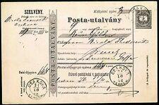ROMANIA HUNGARY  1876  Postal Stationary CSAKOVA TEMES M. Ciacova Timis