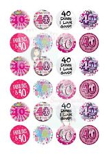 40TH BIRTHDAY CUPCAKE TOPPERS X24 EDIBLE FAIRY CAKE DECORATIONS