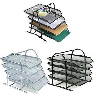 3/4 Tier Metal Filing Letter Trays Stacking Office Desk Paper Document Organiser