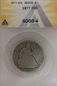1877 .50   ANACS   G 4  1800's Half Dollar, Liberty Seated Half