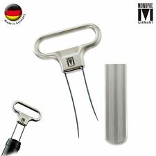 Monopol Westmark German Steel 2-Prong Wine Cork Puller w Cover - Polished Silver